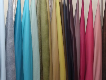 show room: Colorful leather materials samples on show room wall