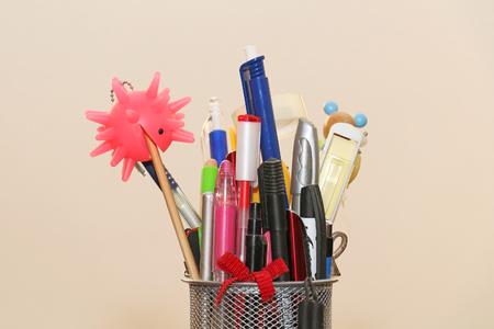 pen holder: Many colorful school pencils inside metal box