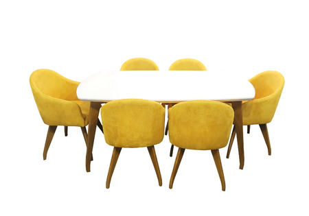 chairs: Modern dining table with six chairs isolated with clipping path included
