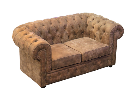 Retro suede upholstery sofa isolated with clipping path included Stock Photo