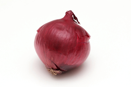 Organic red onion vegetable on white background