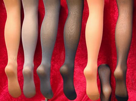 Female transparent stockings on mannequin legs sold on market