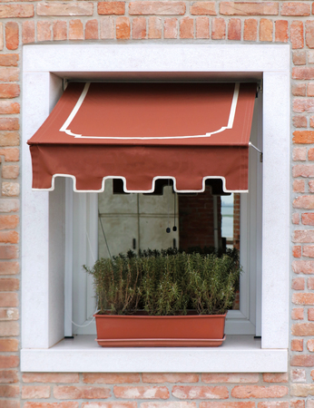 Retro window exterior with small canopy and flower pot