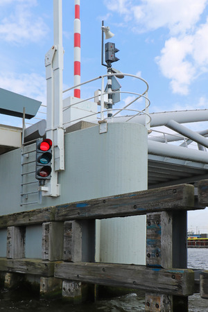 Red light regulating boat traffic in Amsterdam canals