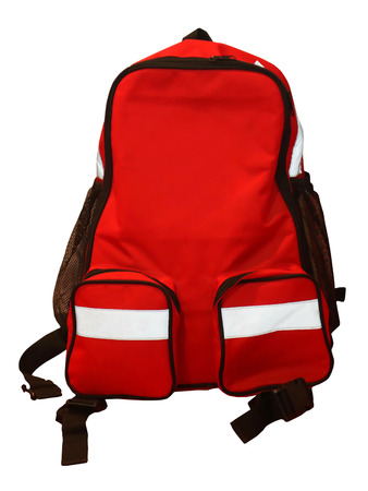 Modern red sport backpack cutout isolated on white