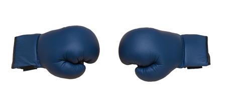 Sport leather boxing gloves fighting with each either on white background
