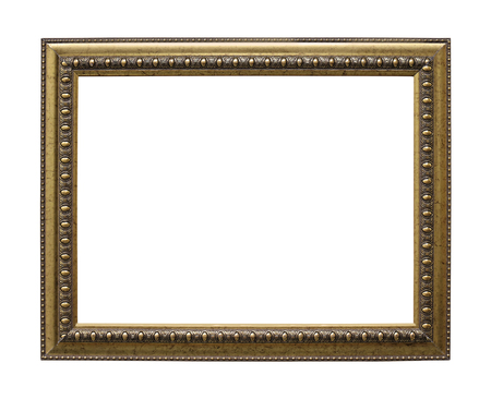 Retro old golden frame isolated on white background with clipping path