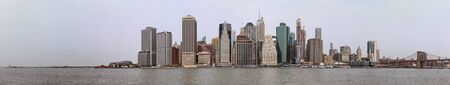 Famous New York skyline of low Manhattan financial district with tall buildings