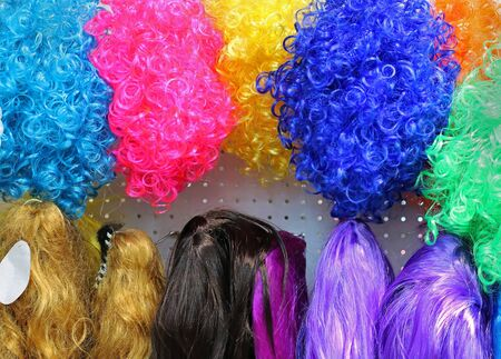 Synthetic curly and strait styles hair colorful wigs