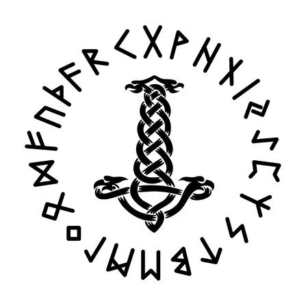 Mjollnir Futhark Runes vector illustration