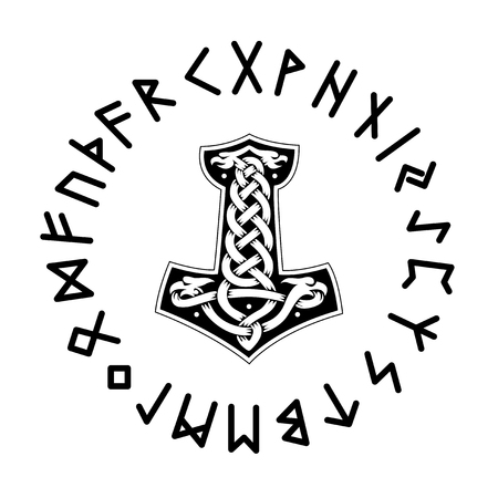 Mjollnir. Futhark vector illustration Çizim