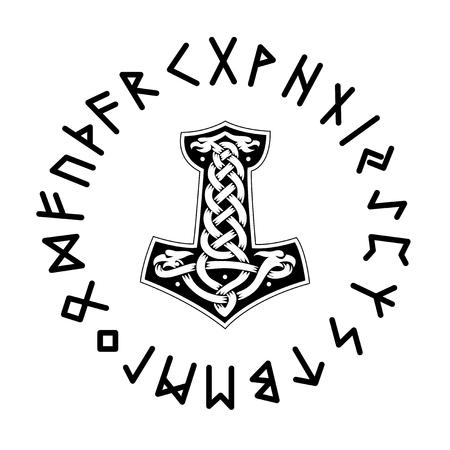 Mjollnir. Futhark vector illustration Vectores