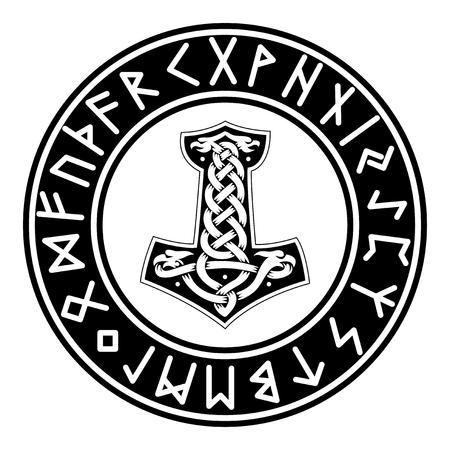 Mjollnir. Futhark. Rune vector illustration