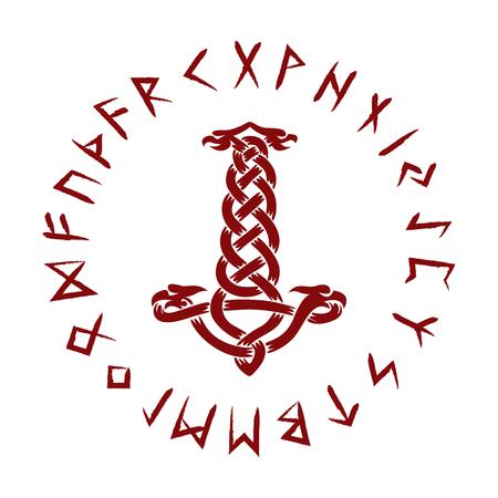 Mjolnir. Futhark vector illustration  イラスト・ベクター素材