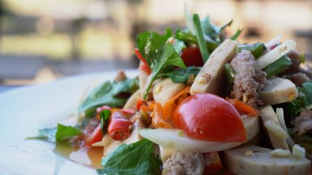 Thai food is called Spicy salad in a white plate on wooden table.