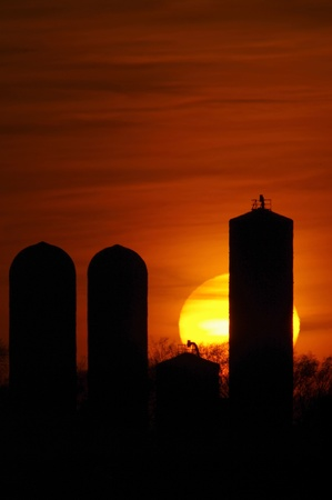 land management: Sun Setting Rising Behind Grain Silo