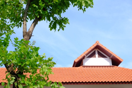 Tropical house in village bangkok Thailand  Stock Photo