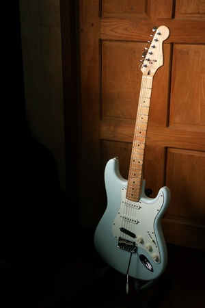 stratocaster: Squier deluxe stratocaster electric guitar Stock Photo