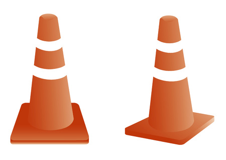 barrage: Traffic cones on white background