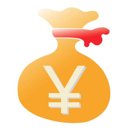 opulent: yen purse on white background
