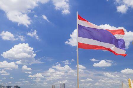 sovereignty: Thailand flag in blue sky Stock Photo