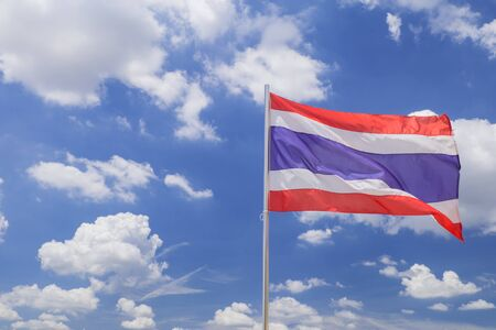 waft: Thailand flag in blue sky Stock Photo