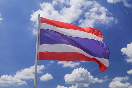 autonomy: Thailand flag in blue sky Stock Photo