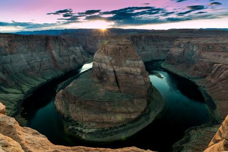 Sunset at Horseshoe Bend in Page, Arizona