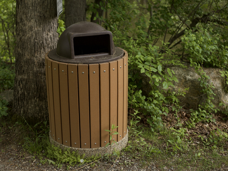 Garbage Pail in a park Stok Fotoğraf