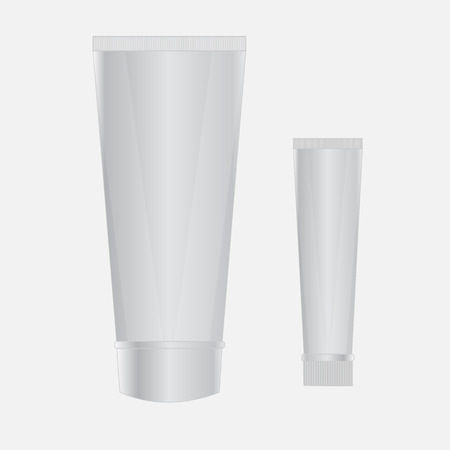 aftershave: Two plastic tube. Packing for cream, gel, toothpaste, cosmetics. Mock up for you design