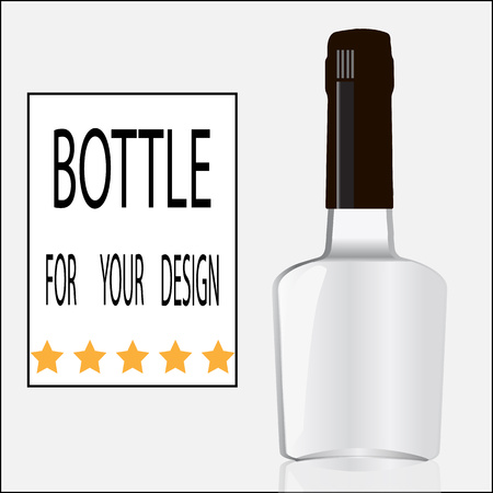 riesling: Bottle for your design. Layout of an empty bottle. Illustration
