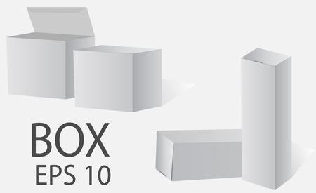 package sending: Box. White packing on a light background. Vector Web. Illustration