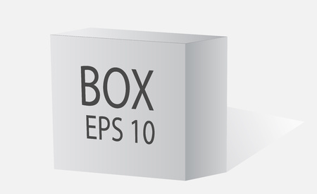 ebox: Big white box on .Vector web. White packing on a white background