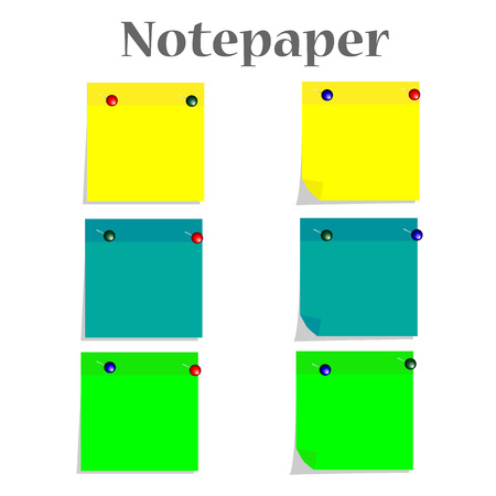 torn heart: Set of yellow, blue and green notepapers in vector format.