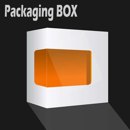 dvd box: White Modern Software Product Package Box With Orange Window For DVD, CD or Your Idea Illustration