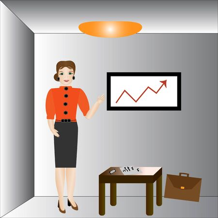businesswoman suit: Businesswoman in suit making presentation. Vector illustration