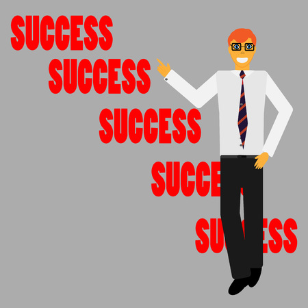 reaches: Success businessman. Man reaches the goal. Vector Illustration. Illustration