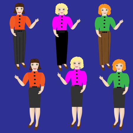 businesswoman skirt: Businesswoman in skirt and pants. Vector illustration Illustration