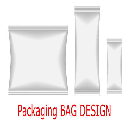flex: White Mock Up Blank Foil Food Or Drink Doypack Bag Packaging.