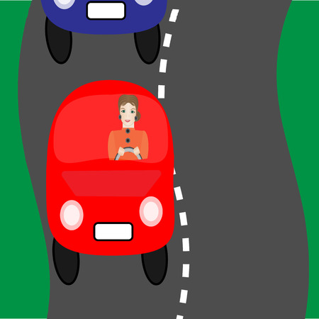 prudence: In the road. Woman in the road. Vector Illuatration