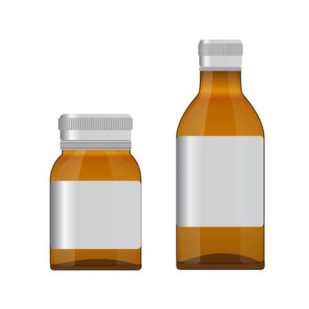 flu shot: Medical Glass Brown Bottle With Label On White Background Illustration