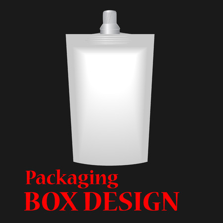 spout: White Blank Doy-pack, Doypack Foil Food Or Drink Bag Packaging With Corner Spout Lid. Illustration Isolated On Black Background.