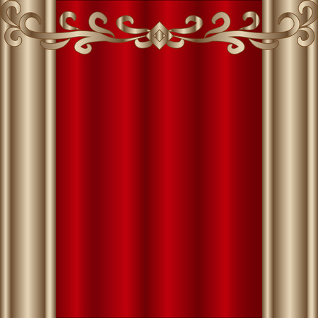 behind the scenes: Theater stage with red curtains. Vector Illustration EPS 10