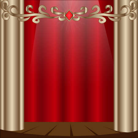 cortinas rojas: Theater stage with red curtains. Vector Illustration EPS 10