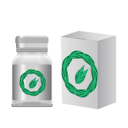 cures: Alternative medicine. Bottle for your design. Vector Illustartion EPS 10 Illustration