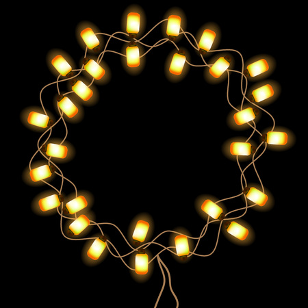 glowing lights: Frame with glowing lights. Circle frame. Vector illustration.