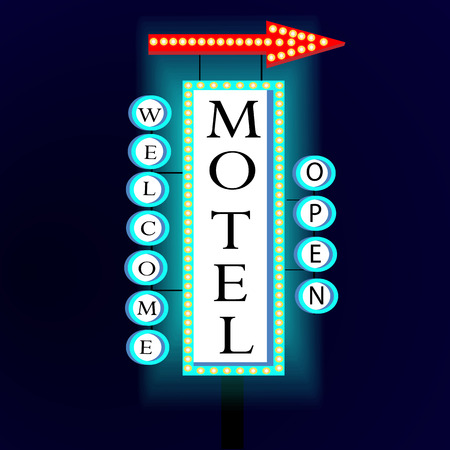 glowing lights: Retro banner with glowing lights motel and welcome. Illustration