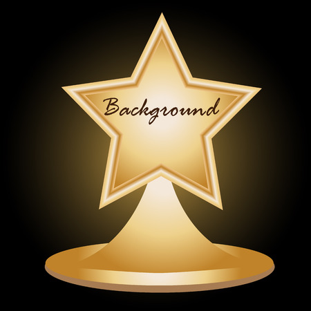 3d star: Gold star on stand. Retro background. Can use design element for your text. Vector illustration Illustration