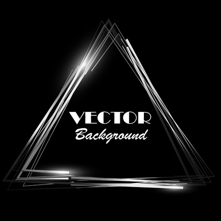 white poster: Black and white triangle glowing frame. Retro background. Can use design element for your ad, sign, banner or poster for disco, club, cafe or your idea . Vector illustration