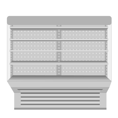 regal: Cooled Regal Rack Refrigerator Wall Cabinet Blank Empty Showcase Displays. Retail Shelves. 3D Products On White Background Isolated. Mock Up Ready For Your Design Illustration